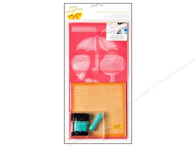American Crafts Embroidery Stencil Kit Amy Tangerine Plus One Teammate Icon