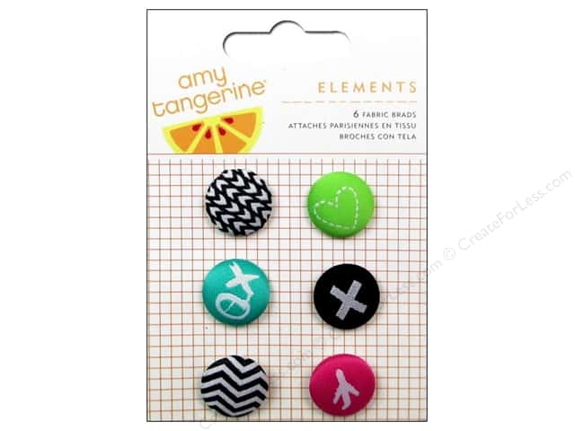 American Crafts Elements Brads 6 pc. Amy Tangerine Plus One Fabric