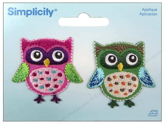 Simplicity Applique Iron On Owls Pink/Green