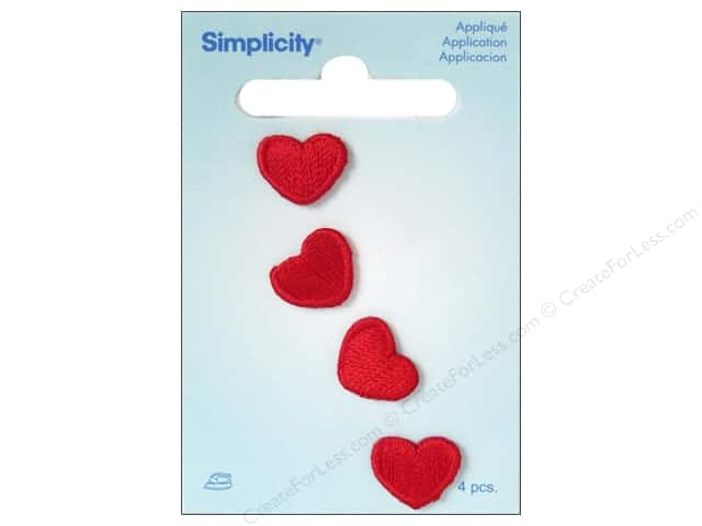 Simplicity Appliques Iron On Red Hearts