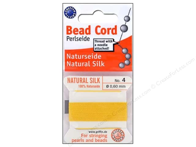 Beadalon Bead Cord 100% Silk Size 4 Yellow 2M