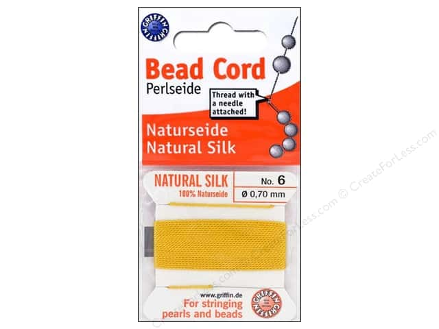 Beadalon Bead Cord 100% Silk Size 6 Yellow 2M