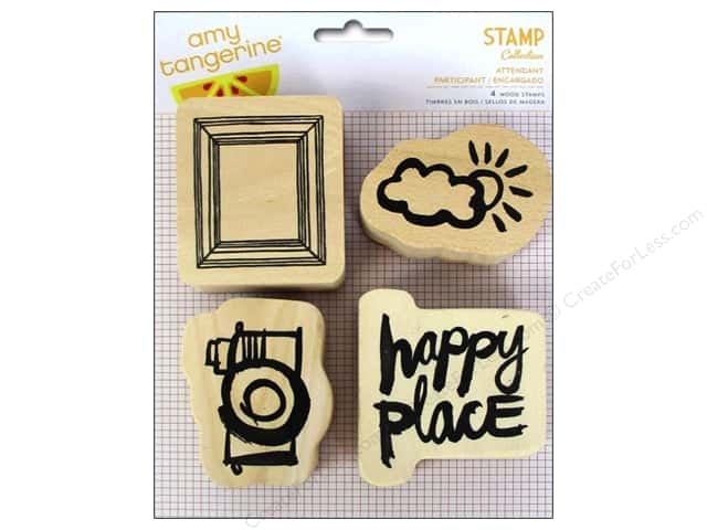 American Crafts Wood Stamps 4 pc. Amy Tangerine Plus One Attendant
