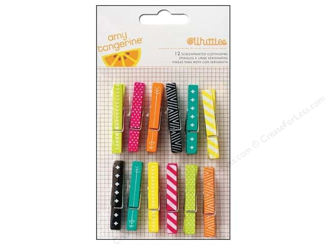 American Crafts Whittles Clothespins 12 pc. Amy Tangerine Plus One