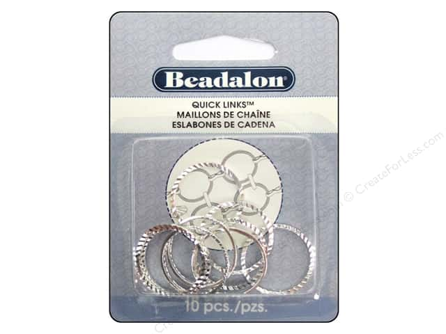 Beadalon Quick Links Diamond Cut Round 20 mm Silver 10 pc.