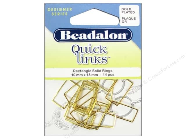 Beadalon Quick Links Rectangle 10 x 18 mm Gold 14 pc.