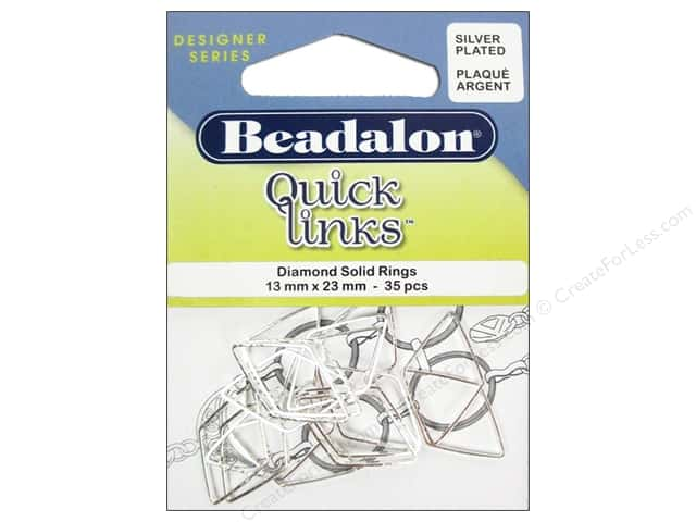 Beadalon Quick Links Diamond 13 x 23 mm Silver 35 pc.