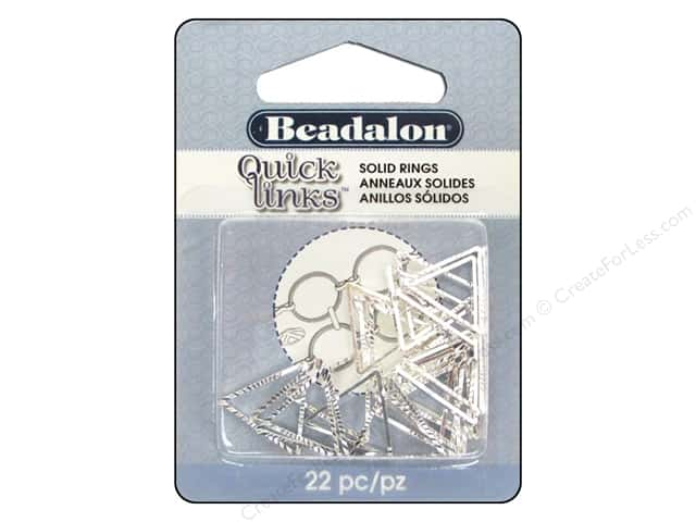 Beadalon Quick Links Triangle Diamond Cut Round 16.5 mm Silver 22 pc.