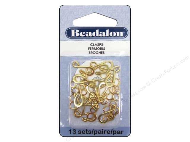 Beadalon Hook & Eye Clasps Medium 13 pc. Gold