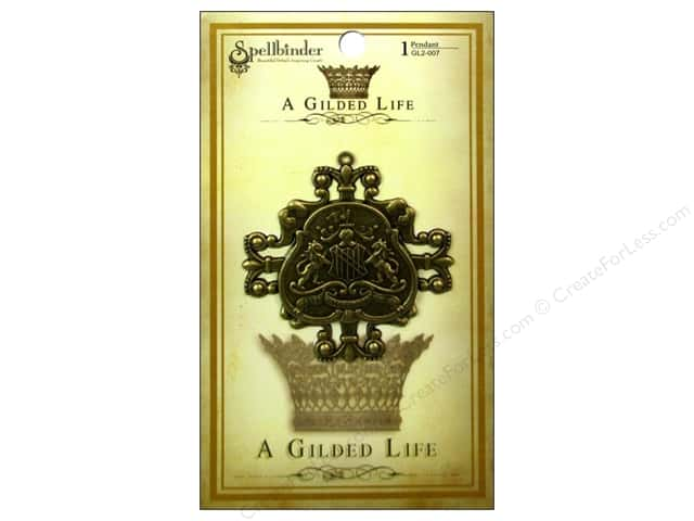 Spellbinders Pendant Gilded Life Family Crest Antique Gold