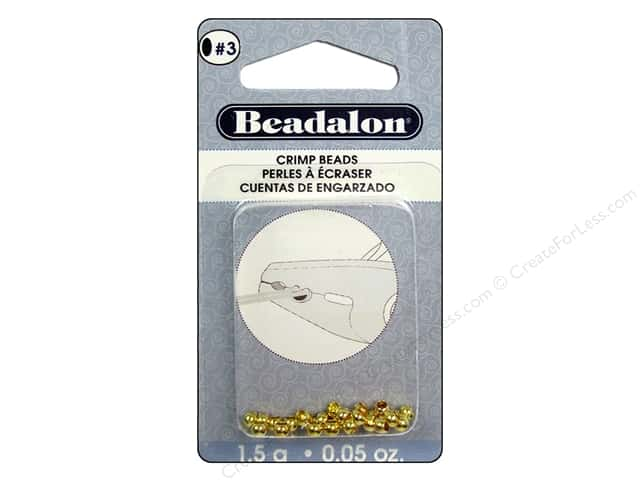 Beadalon Crimp Beads 3 mm Gold .05 oz