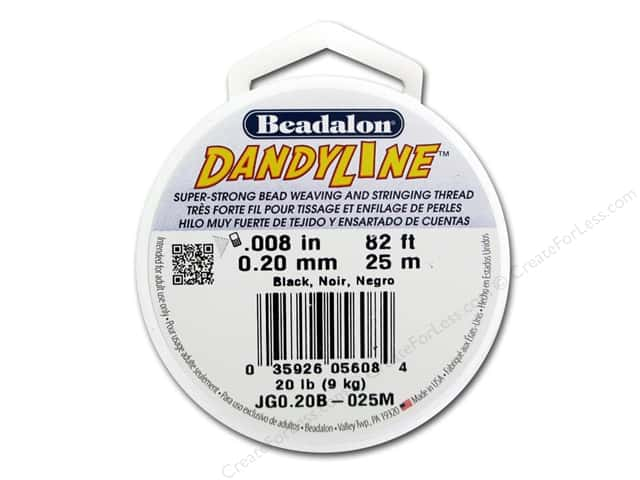 Beadalon DandyLine Beading Thread 0.20 mm Black 82 ft.