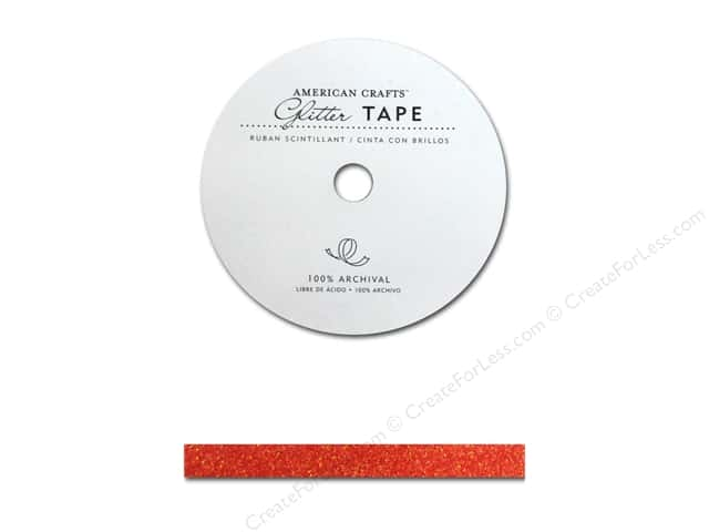 American Crafts Glitter Tape 3/8 in. Cherry