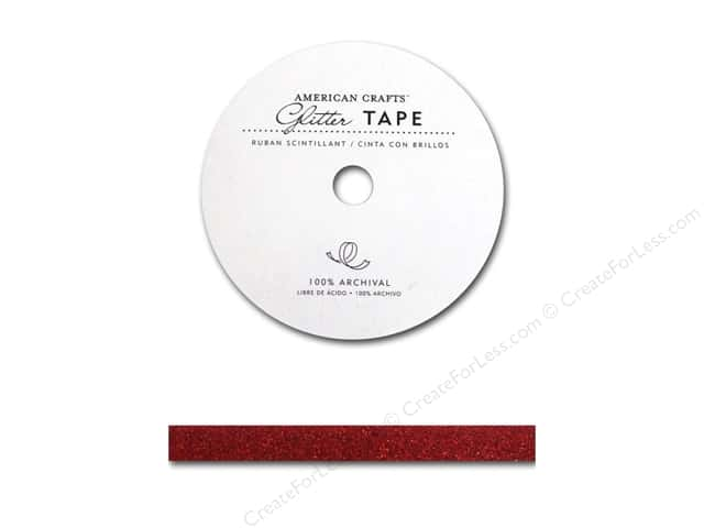 American Crafts Glitter Tape 3/8 in. Rouge