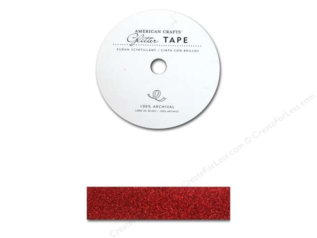 American Crafts Glitter Tape 7/8 in. Rouge