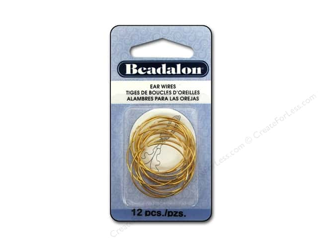 Beadalon Ear Wires Bead Hoops 25 mm Gold Plated 12 pc.