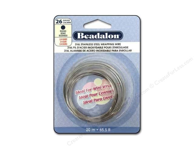 Beadalon 316L Stainless Steel Wrapping Wire Round 26 ga 65.6 ft.