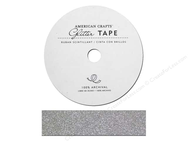 American Crafts Glitter Tape 7/8 in. Silver