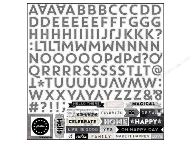 Echo Park Sticker 12 x 12 in. Capture Life Black & White Collection Alphabet (15 sets)