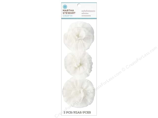 Martha Stewart Sticker Fabric Pearl Dot Flower White