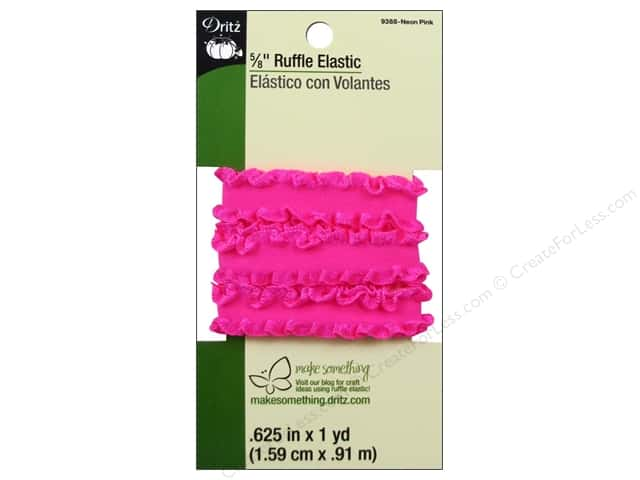 Ruffle Elastic by Dritz 5/8 in. x 1 yd.  Neon Pink