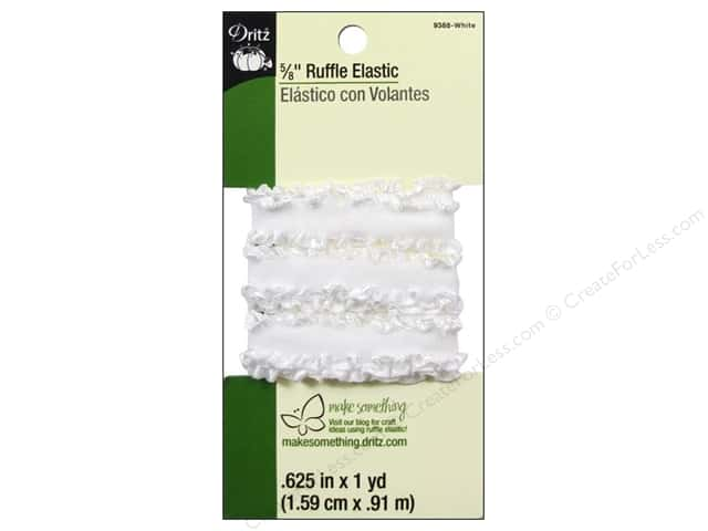 Ruffle Elastic by Dritz 5/8 in. x 1 yd. White