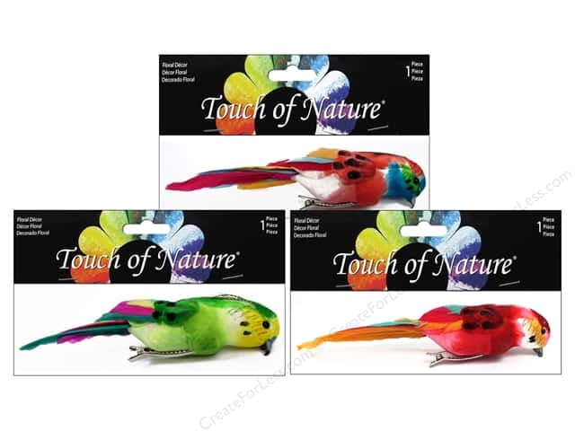 Midwest Design Artificial Birds 6 1/2 in. Parrot Assorted Colors Feather 1 pc.