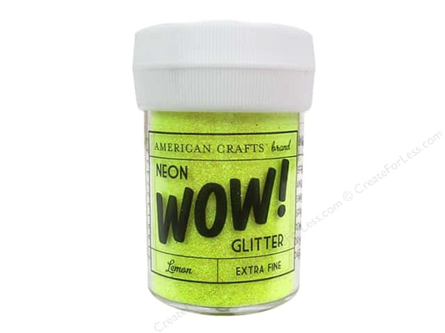 American Crafts Wow! Glitter 1 oz. Extra Fine Neon Lemon