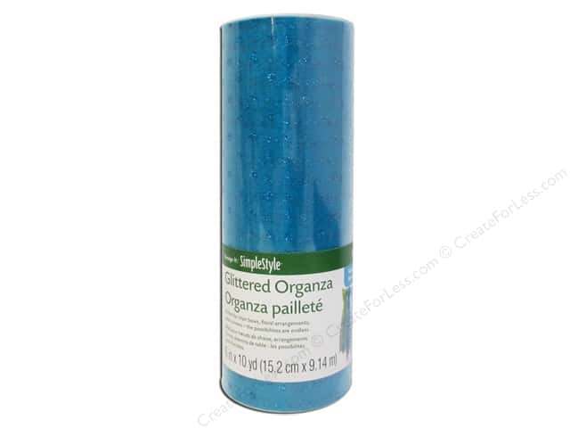 FloraCraft Decorative Organza Glitter Dot Turquoise 6 in. x 10 yd.