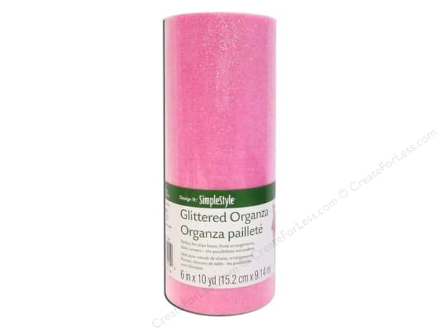 FloraCraft Decorative Organza Glitter Pink 6 in. x 10 yd.
