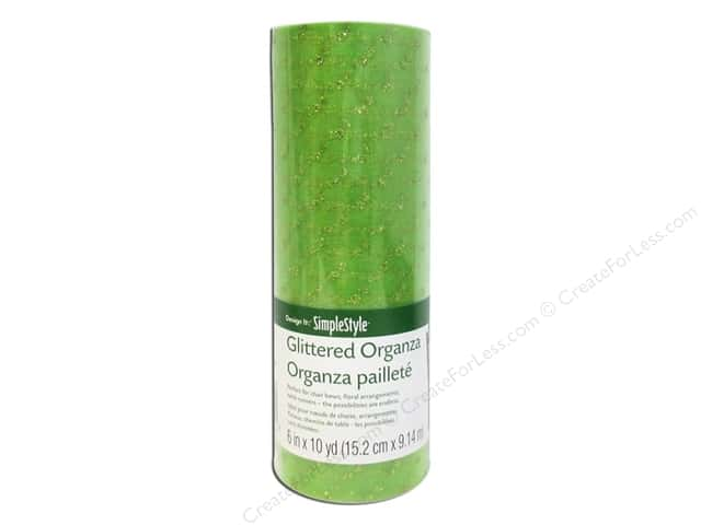 FloraCraft Decorative Organza Glitter Dot Light Green 6 in. x 10 yd.