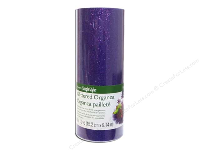 FloraCraft Decorative Organza Glitter Purple 6 in. x 10 yd.