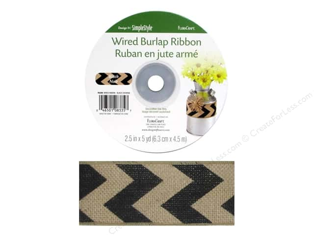 FloraCraft Burlap Ribbon 2 1/2 in. x 5 yd. Chevron Black Wired