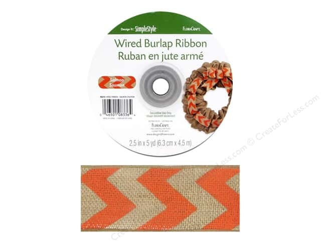 FloraCraft Burlap Ribbon 2 1/2 in. x 5 yd. Chevron Salmon Wired