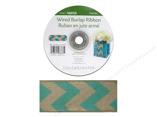 FloraCraft Burlap Ribbon 2 1/2 in. x 5 yd. Chevron Aqua Wired