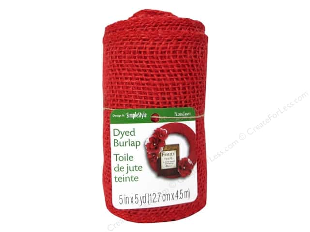 FloraCraft Burlap Ribbon 5 in. x 5 yd. Red