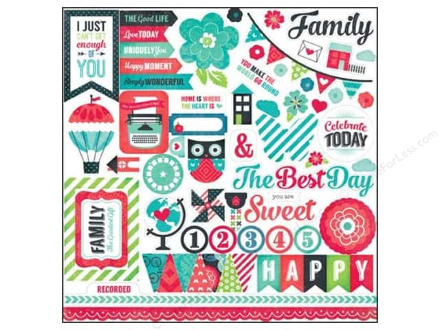 Echo Park Stickers We Are Family Element (15 sheets)