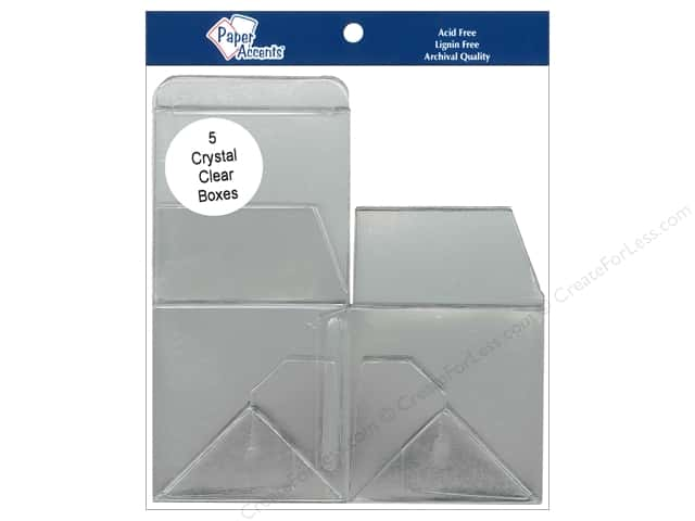Paper Accents Crystal Clear Boxes 3 x 3 x 3 in. 5 pc.