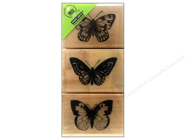 Hero Arts Rubber Stamp Set Three Artistic Butterflies