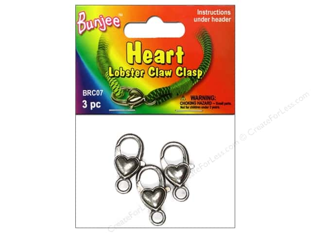 Pepperell Bungee Cord Clasp Heart Lobster Claw Antique Silver 3pc