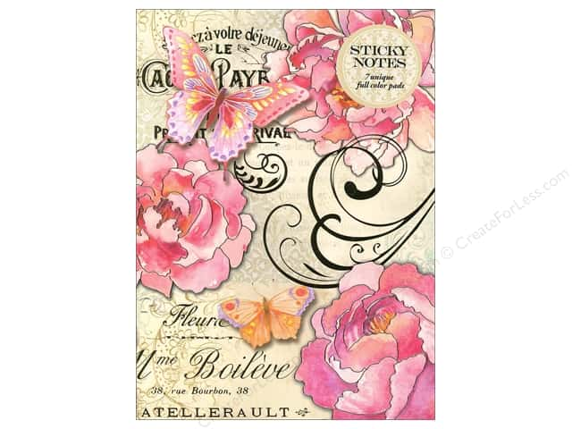 Punch Studio Sticky Notes Portfolio Peony Butterfly Script