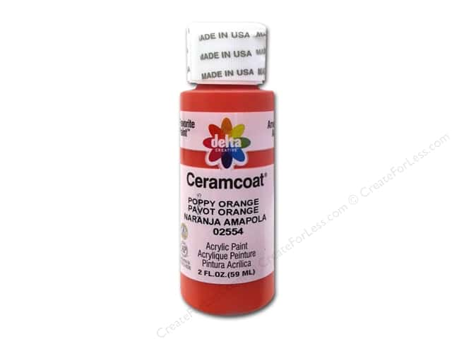 Ceramcoat Acrylic Paint by Delta 2 oz. #2554 Poppy Orange