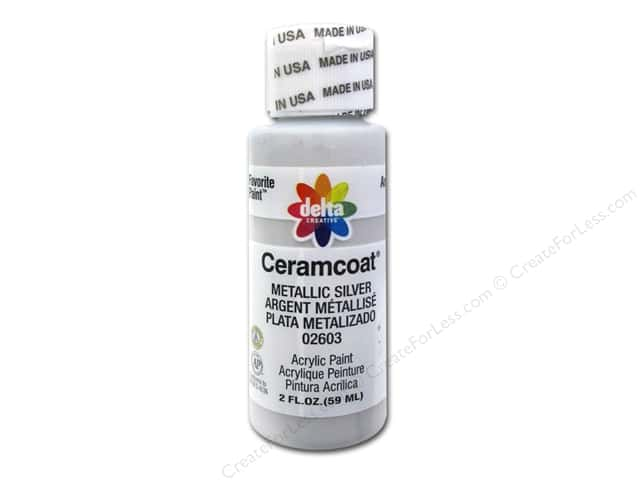 Ceramcoat Acrylic Paint by Delta 2 oz. #2603 Metallic Silver