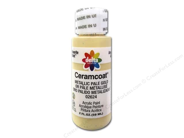 Ceramcoat Acrylic Paint by Delta 2 oz. #2624 Metallic Pale Gold