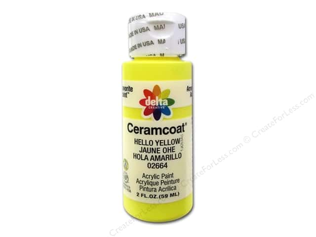 Ceramcoat Acrylic Paint by Delta 2 oz. #2664 Hello Yellow