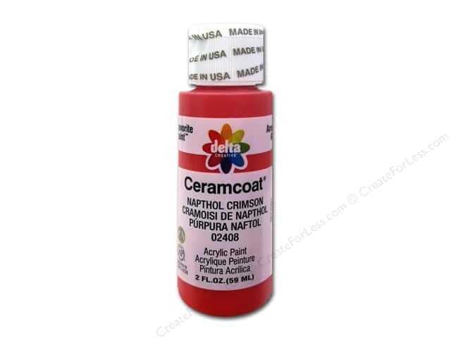 Ceramcoat Acrylic Paint by Delta 2 oz. #2408 Napthol Crimson