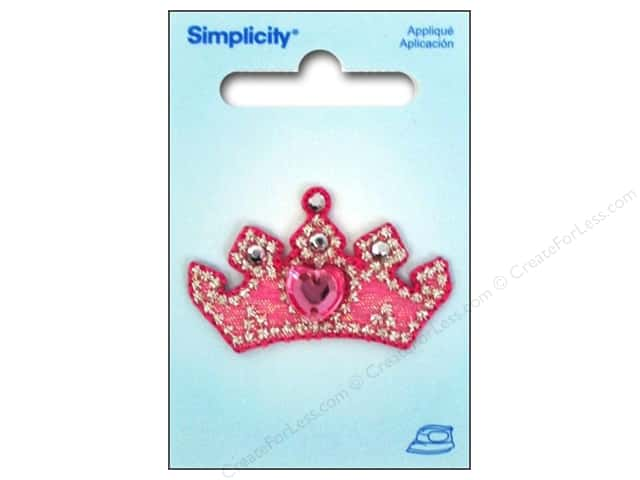 Simplicity Appliques Iron On Jeweled Crown Pink