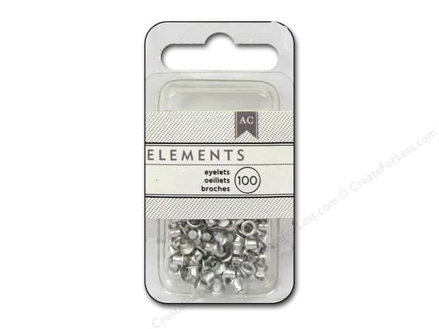 American Crafts Eyelets 1/8 in. Medium 100 pc. Silver