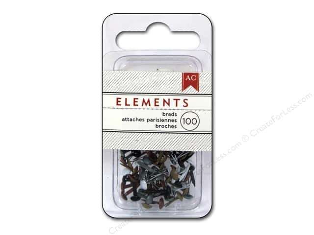 American Crafts Elements Brads 5 mm Mini 100 pc. Metallic