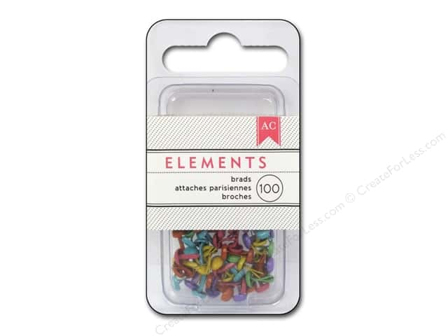 American Crafts Elements Brads 5 mm Mini 100 pc. Brights